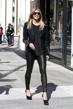 Heidi Klum in leather skinnies