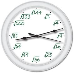 Square Root Math Wall Clock Calculator Equations Great School Teacher Gift