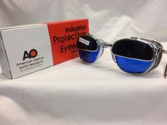 fd450223c3a AMERICAN OPTICAL WELDING GLASSES IRUV FLIP UP CABLE TEMPLES CUSTOM BLUE LENS