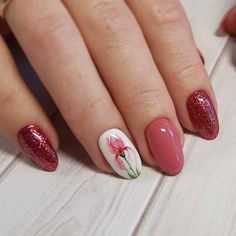 French Manicure Acrylic Nails, Best Acrylic Nails, Nail Drawing, Red Nail Designs, Flower Nails, Nailart, Gorgeous Nails, Red Nails, Floral