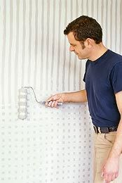 DIY: wrap masking tape over roller, paint vertically, then horizontally to create rolled squares look on wall