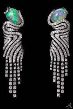 """CARTIER'S """"L'ODYSSÉE DE CARTIER PARCOURS D'UN STYLE"""" COLLECTION   African Influences – High Jewelry Earrings Platinum, two cabochon-cut opals, brilliants"""