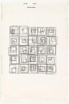 Plotter drawing, 'Structure of Squares', by Vera Molnar, Paris, Museum Number Code Art, Geometric Graphic, Geometry Art, Computer Art, Generative Art, Travel Humor, Wedding Humor, Animal Tattoos, Diy Wall Art