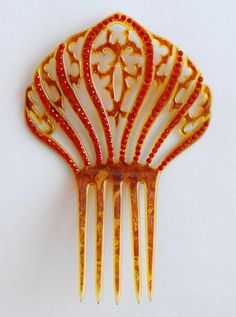 HAIR COMB - PLASTIC WITH RHINESTONES c.1920