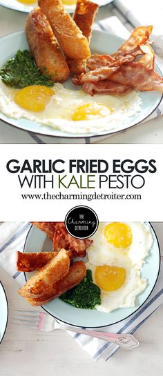 These eggs with kale pesto are fried with garlic and paired with ...
