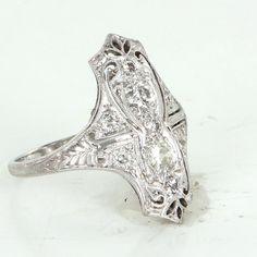 Vintage Art Deco 900 Platinum Diamond Cocktail Ring Estate Filigree Jewelry Heirloom