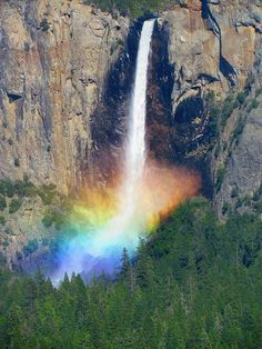 Un arc-en-ciel d'eau au parc national Yosemite en Californie.