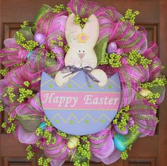 Kristen's Creations: Easter Mesh Wreath Tutorial 2012- She shows you how to make it step by step. Description from pinterest.com. I searched for this on bing.com/images