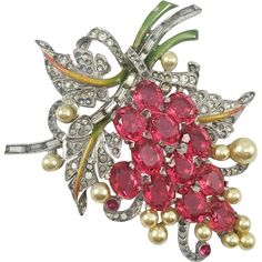 HUGE Pennino Figural Grape Fuchsia Pink Oval Cut Stones Enamel Pearl Baguette Pave Rhinestone Brooch