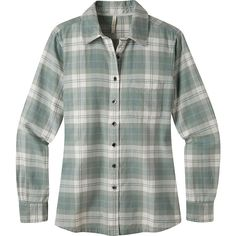 Mountain Khakis Aspen Flannel Shirt ($65) ❤ liked on Polyvore featuring tops, white, shirt top, white flannel shirt, chevron tops, white shirt and chevron print tops