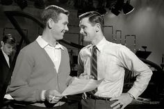 """Cool! I didn't know Johnny Carson had a brother, much less that he directed the show!  ..""""Talk host Johnny Carson and his brother Dick, who directed the Tonight show, in New York in 1962. From photos taken for Johnny Carson: Nighthoods New Prince, an article in the April 23, 1963, issue of Look magazine."""""""