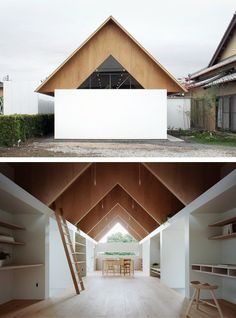 Love the pitch roof and what's under it, with secret nooks between triangular framing via ladders? mA Style - Koyanosumika house, Shizuoka 2013. Photos (C) Kai Nakamura.