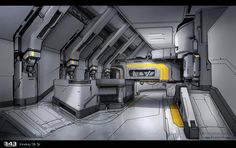 Home Base interior for Halo 5 Guardians, Sam Brown on ArtStation at https://www.artstation.com/artwork/K1aVW