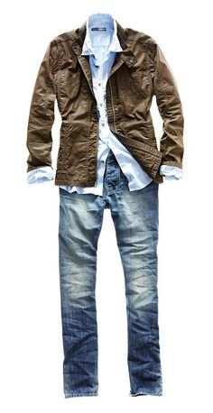 william rast coated jacket, woven shirt, and tapered jeans