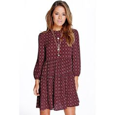 Boohoo Petite Petite Ruby Ditsy Paisley Tired Smock Dress ($35) ❤ liked on Polyvore featuring dresses, berry, petite cocktail dress, bodycon dress, holiday dresses, evening dresses and petite evening dresses