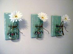 Shabby Chic Vase Sconce Mason Jar Wood Vase Wall Decor. $18.99, via Etsy.