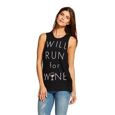 Women's Will Run For Wine Chin Up Top Black - Chin Up Apparel