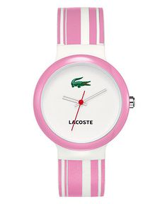 Lacoste Watch, Women's Goa Pink and White Silicone Strap