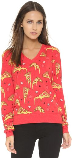 Wildfox La Dolce Vita Extra Cheese Baggy Beach Sweatshirt
