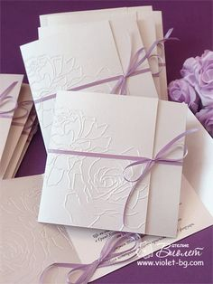 #Wedding #invitations with embossed roses, purple, lilac, wedding // from http://www.violet-bg.com/