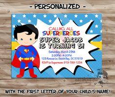 Superman Birthday Invitations ANY PARTY by FaithFamilyFunDesign