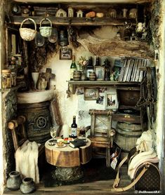 The Cottage with an old Vinyl records Dollhouse Miniatures Dollhouse ♡ ♡ By Dollhouse Ara Witch Cottage, Witch House, Hobbit Hole, The Hobbit, Haunted Dollhouse, Dollhouse Miniatures, Old Vinyl Records, Miniature Rooms, House Entrance