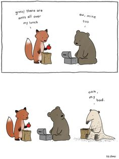 When Shes Not Drawing The Simpsons, Liz Climo Makes Funny Animal Comics Funny Animal Comics, Funny Comics, Funny Animals, Cute Animals, Talking Animals, Wild Animals, Liz Climo Comics, Funny Cartoons, Funny Memes