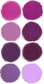 Swatches for different colored dresses. Choose one of these colors and whatever dress fits you!