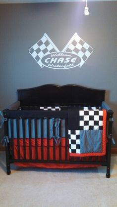 Racing themed baby bedding made by peggy westerfeld and trish conway