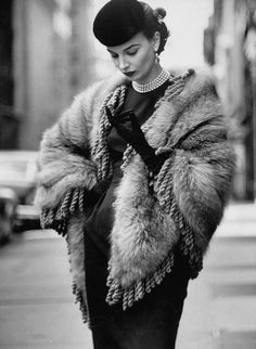 Leonie Vernet in a Fringed Shawl Made of Natural Norwegian Blue Fox - October 1952 - Life Magazine - Photo by Gordon Parks
