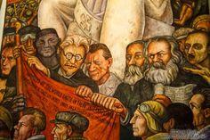 Em mural de Diego Rivera, Marx, Engels e Trotsky, entre outros, dirigem-se a trabalhadores de todo o mundo. Internacionalismo foi vertente decisiva entre correntes anarquistas e marxistas