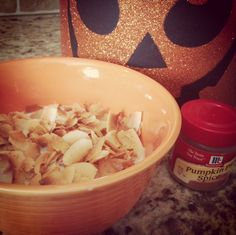 So, I updated my beloved keto cereal recipe just a smidge. Instead of cinnamon I added pumpkin pie spice.