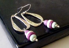 Freeform Silver Dangle Earrings  Pink Lilac by SaraBernhart, $18.00