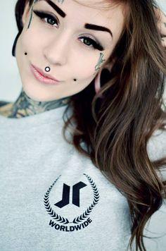 Women face tattoos chin