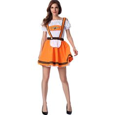 Orange Beer Girl Sexy Maid Costume ($27) ❤ liked on Polyvore featuring costumes, orange, french maid costume, bar wench costume, tavern maiden costume, saloon girl and beer maiden costume