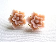 Shop for earrings on Etsy, the place to express your creativity through the buying and selling of handmade and vintage goods. Cream Bridesmaids, Flower Earrings, Stud Earrings, Pink Rose Flower, Pale Pink, Studs, My Style, Creative, Flowers