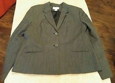 MADISON STUDIO Women's Gray/Black Zigzag Lined Career Fitted  Blazer Size 14