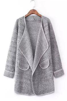 Vintage Gray Long Sleeve Lapel Loose Cardigan