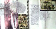 """""""Virginia & Montana Early History"""" Collage, ball point pen, scartch away & Antique Advertisement Cards"""