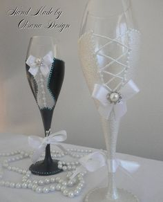 Bride/ Groom Wedding glasses/ Mr and Mrs by ToujourGlamour on Etsy