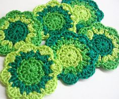 Crochet flower appliques round motifs in green shades set of six 2 inches wide