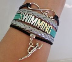 Swimming bracelet Swimming charm Infinity love by SummerWishes