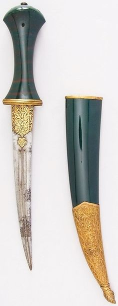 Persian or Ottoman jambiya dagger, 18th to 19th century, steel, copper, gold, bloodstone, ruby, H. with sheath 14 1/2 in. (36.8 cm); H. without sheath 12 9/16 in. (31.9 cm); H. of blade 8 in. (20.3 cm); W. 2 in. (5.1 cm); Wt. 7.4 oz. (209.8 g); Wt. of sheath 5 oz. (141.7 g), Met Museum, Bequest of George C. Stone, 1935.