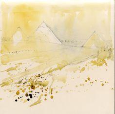 Watercolour Sketch - Pyramids at Giza, Egypt www.nickhirst.co.uk