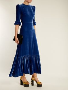 The Vampire's Wife Festival ruffled velvet dress Velvet Bridesmaid Dresses, Blue Dresses, The Vampires Wife, Blue Velvet Dress, Velvet Fashion, Festival Dress, Designer Gowns, Party Gowns, Classy Outfits