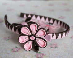 traditional flowers ... Headband in Pink and Brown ... here grosgrain ribbon ...