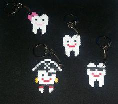 Happy Teeth Mini Perler Pixel Art Key chain by NadaPixelArt