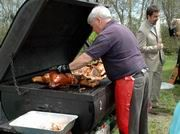 Catered Pig Roasts & Luaus -  Pig Roasts are hugely popular; they're like an event within an event! The crew arrives about 6 hours prior to the serving time to set up and start roasting the pig.  Custom built, covered cooker allow us cooking any weather. The cooker must be continuously monitored to adjust the temperature, so the pig is roasted to perfection! Guests love to observe this process. | B & M Catering Company Pig Roast, Catering Companies, Hawaiian Luau, Roasts, Cooker, Weather, Popular, Food, Pork Roast