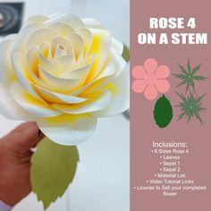 Paper Flowers Wedding, Giant Paper Flowers, Flower Center, Flower Template, Sagittarius, Flower Designs, Card Stock, Stencils, Events