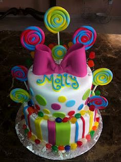 The cake from Molly's birthday It was a candy theme! Themed Birthday Cakes, Birthday Cake Girls, 2nd Birthday, Birthday Ideas, Candy Cakes, Cupcake Cakes, Cupcakes, Lolly Cake, Candy Theme